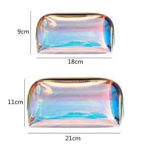 Custom Logo Transparent TPU Holographic Clear Beauty Cosmetics Makeup Bags Travel Private Label