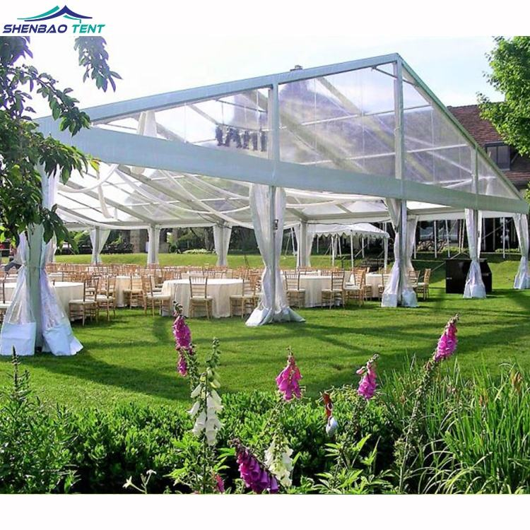 Aluminum Permanent Clear Transparent Roof PVC / Glass Wall Marquee Wedding Party Tent For Sale
