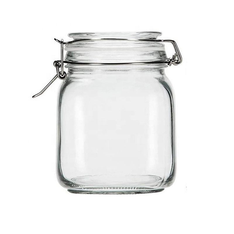 KC0023-1 100ML New Popular Glass Jars And Containers Stainless Steel Buckle Glass Sealed Storage Tank