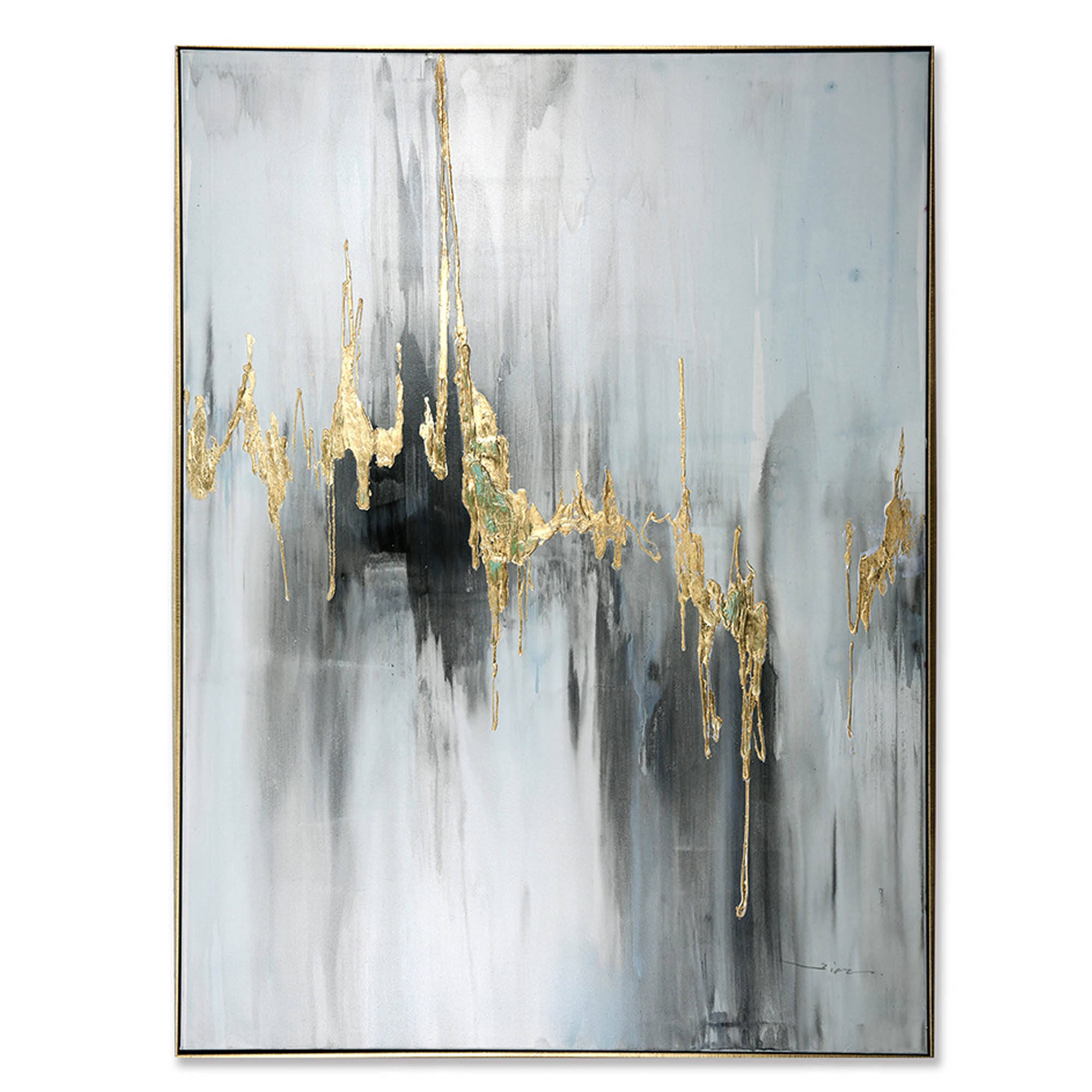 Custom Abstract Nordic Silver Frame Art Pictures Canvas Fabric Wall Decorative Golden Foil Oil Painting For Living Room