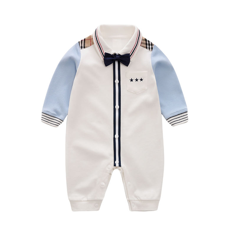 Wholesale Baby Casual Romper Boy Preppy Style Onesie for Autumn Baby Jumpsuit