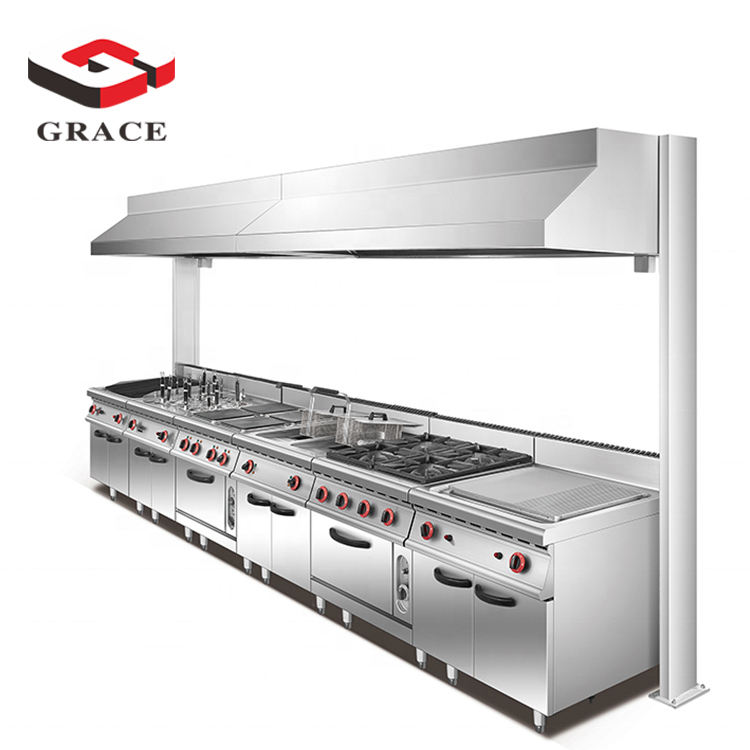 Heavy Duty Seafood Buffet Bakery Gas Stove Restaurant Set Commercial Kitchen Equipment