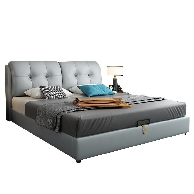 Factory Price Italian Modern Bed Room Furnitures Lift Storage Leather Bed