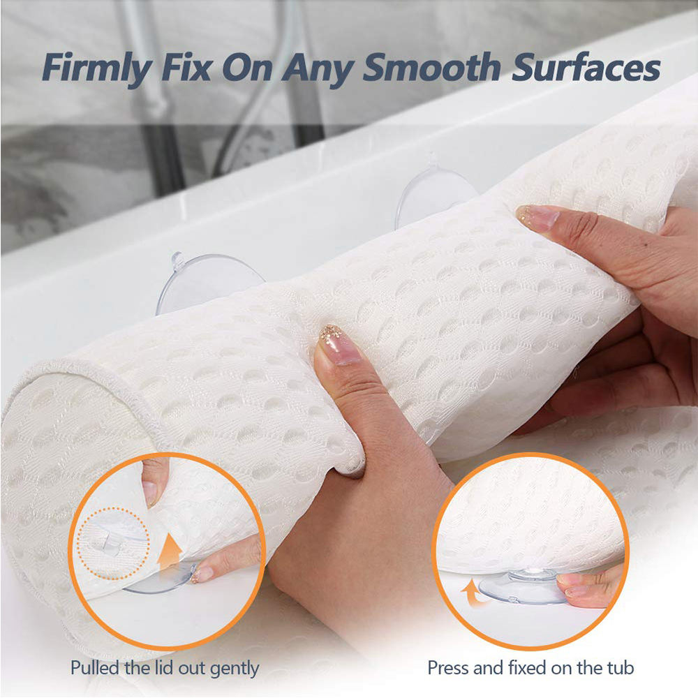 New Design Soft 3d Mesh Relaxing Bathtub Spa Pillow With Anti-slip Suction Cups