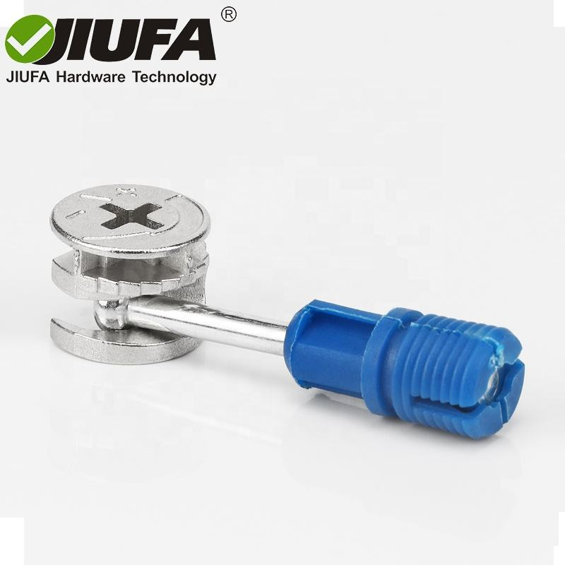JIUFA Hardware Furniture Fitting Minifix Wooden Panel Connecting Zinc Alloy Cam Quick Assembly Rod Screw Dowel With Plastic Nut