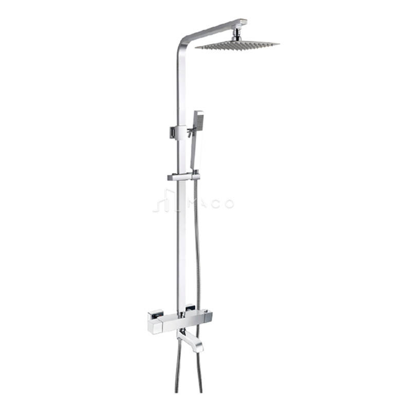Exp Bathroom Square Rain Chrome Concealed Thermostatic Shower Mixer Set