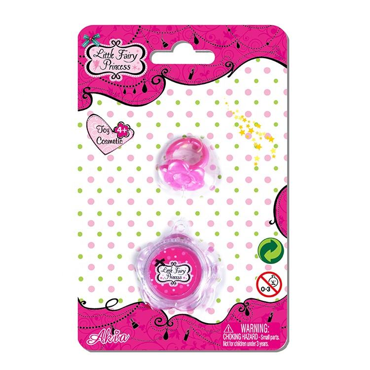 Children Beauty Set Cosmetic Kits Pink Lipstick And Plastic Toy Ring Makeup Sets Child