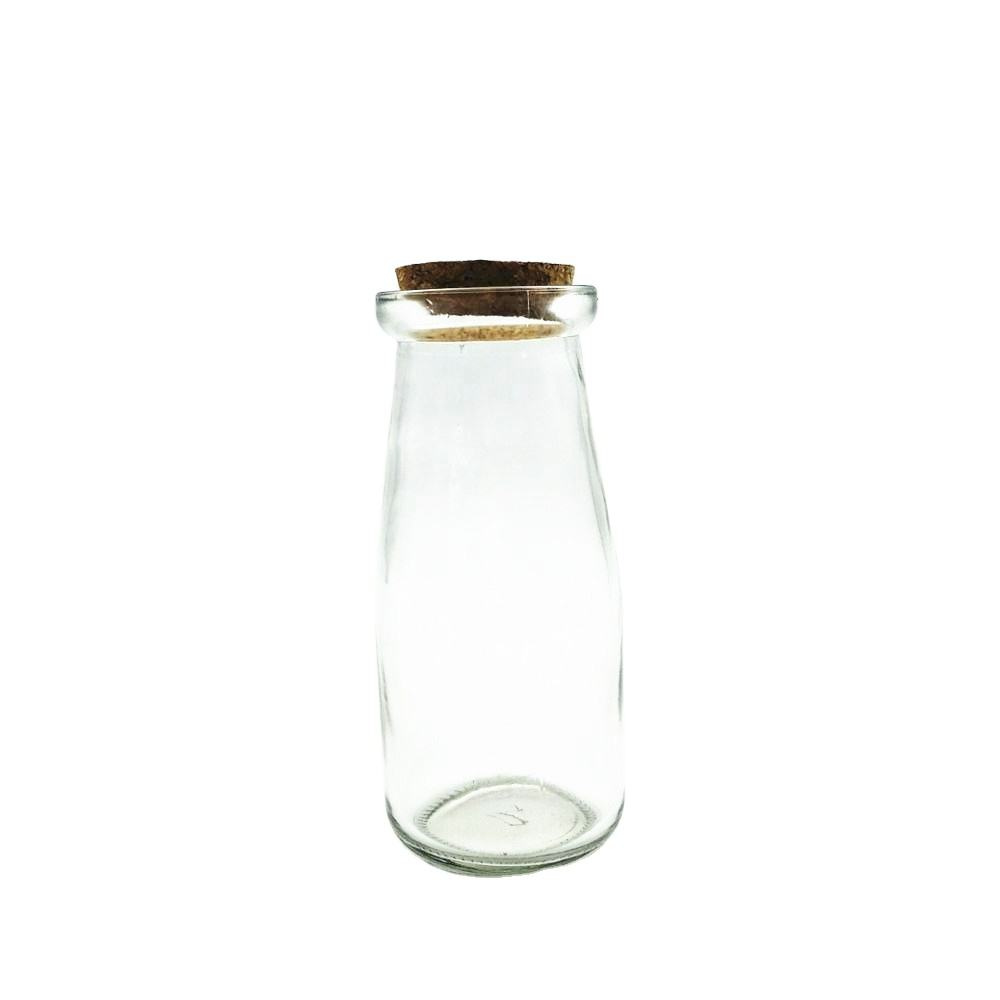 Wholesale 250ml tall thin glass milk storage bottles with wooden cork