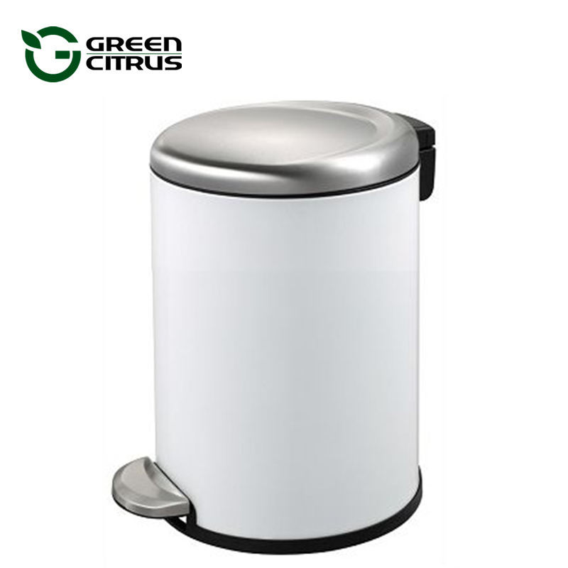 1.25 Gallon 5L Grace White Stainless Steel Pedal Trash Can with Silent Lid