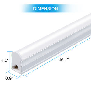 6 Pack 4FT Line Voltage AC White Color T5 LED Tube Light Integrated with Aluminum Fixture and Milky White cover Set