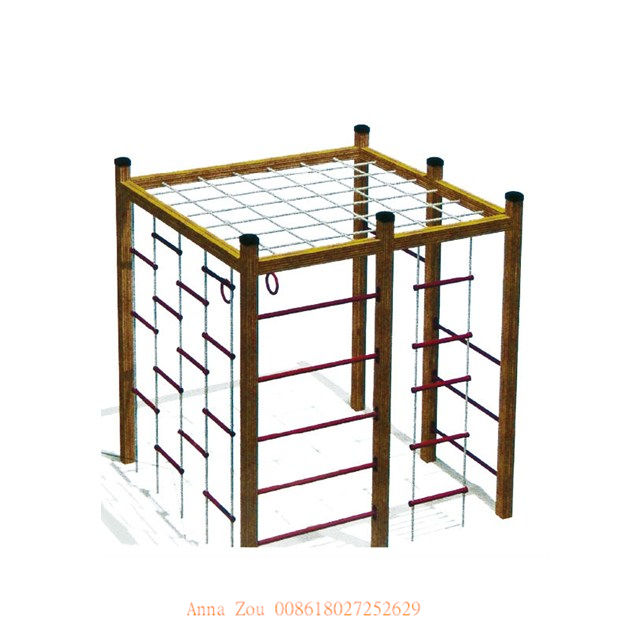 2016 hot sale!!! 18 years golden supplier wooden outdoor playground wooden climbing frame QX-077C