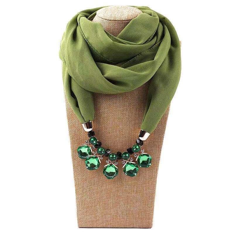 Color liso collar Hijab musulmán infinito de la bufanda de <span class=keywords><strong>gasa</strong></span> colgante joyas bufanda para mujer