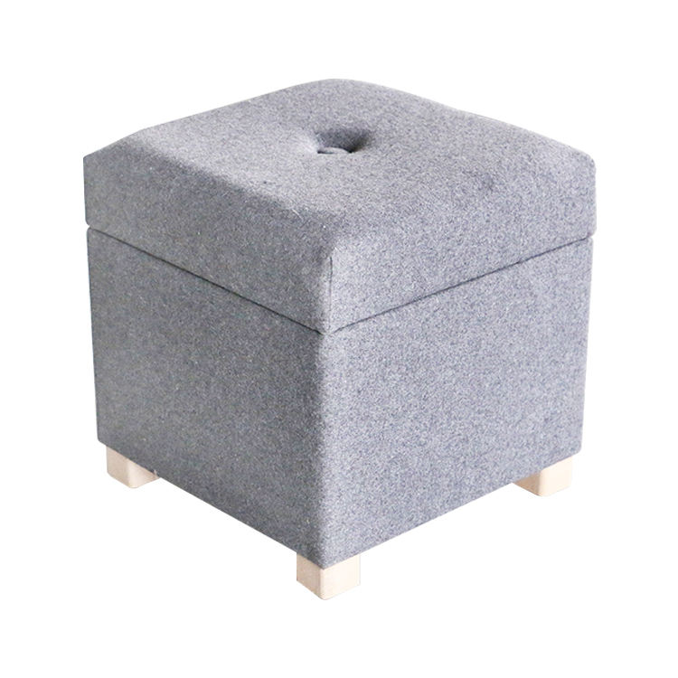 K&B wholesale cube gray removable cover storage step stool box ottoman chair with wooden legs