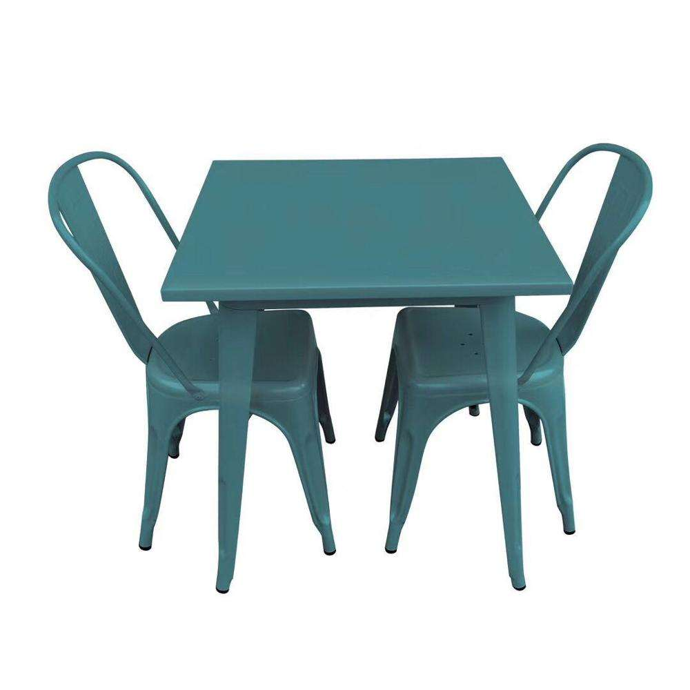 Space Saving Leisure Outdoor Fast Food Restaurant Used 4 Person Metal Industrial Dining Table And Chair