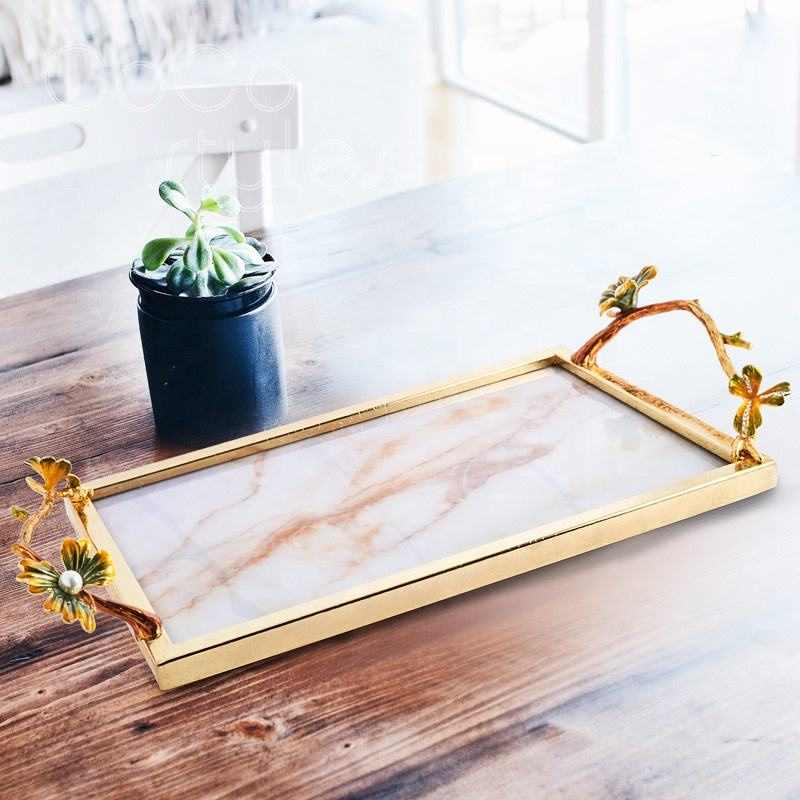 Cocostyles bespoke gorgeous rectangular marbling brass serving trays with flower statue handles for vintage nobiliary home decor