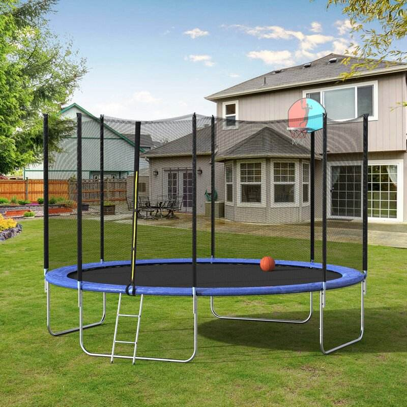 KKMark Trampolines custom cheap jumping large folding indoor rebounder 12ft Kinetic Backyard Trampoline with Safety Enclosure