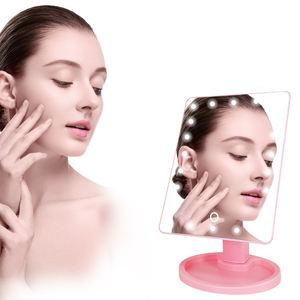 Modern Style Metal Bathroom Logo Led Light Cosmetic Makeup Mirror Manufacturer