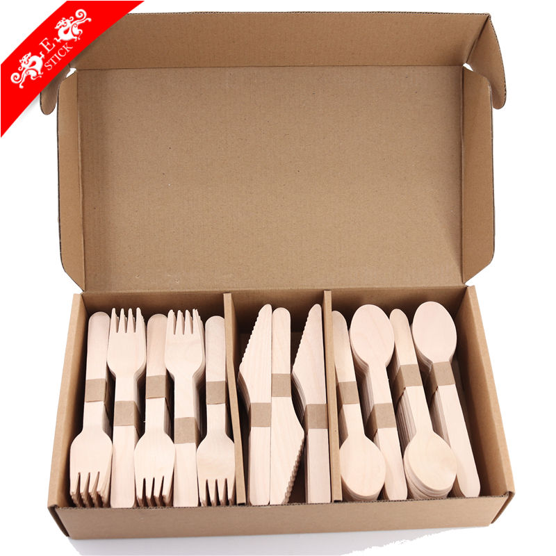 Disposable wooden cutlery like knife fork and spoon with certification