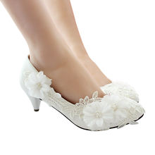 bridal shoes design Luxury white color lace women heels bridal wedding shoes with pearls jewel 3cm 5cm 8cm  heels shoes