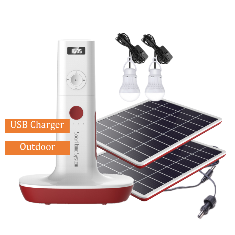 Hiking Outdoor LED Lights Fan DC 6V/5V Solar Charging FM Radio Solar Power System Home With MP3