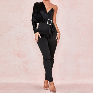 Weixin Black Satin Crystal Riem Womens Rompertjes Jumpsuits Sexy