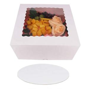 Custom Environmentally friendly Cake Boxes 10 x 10 x 5 inch Bakery Box Has Double Window with 10 inch cake board