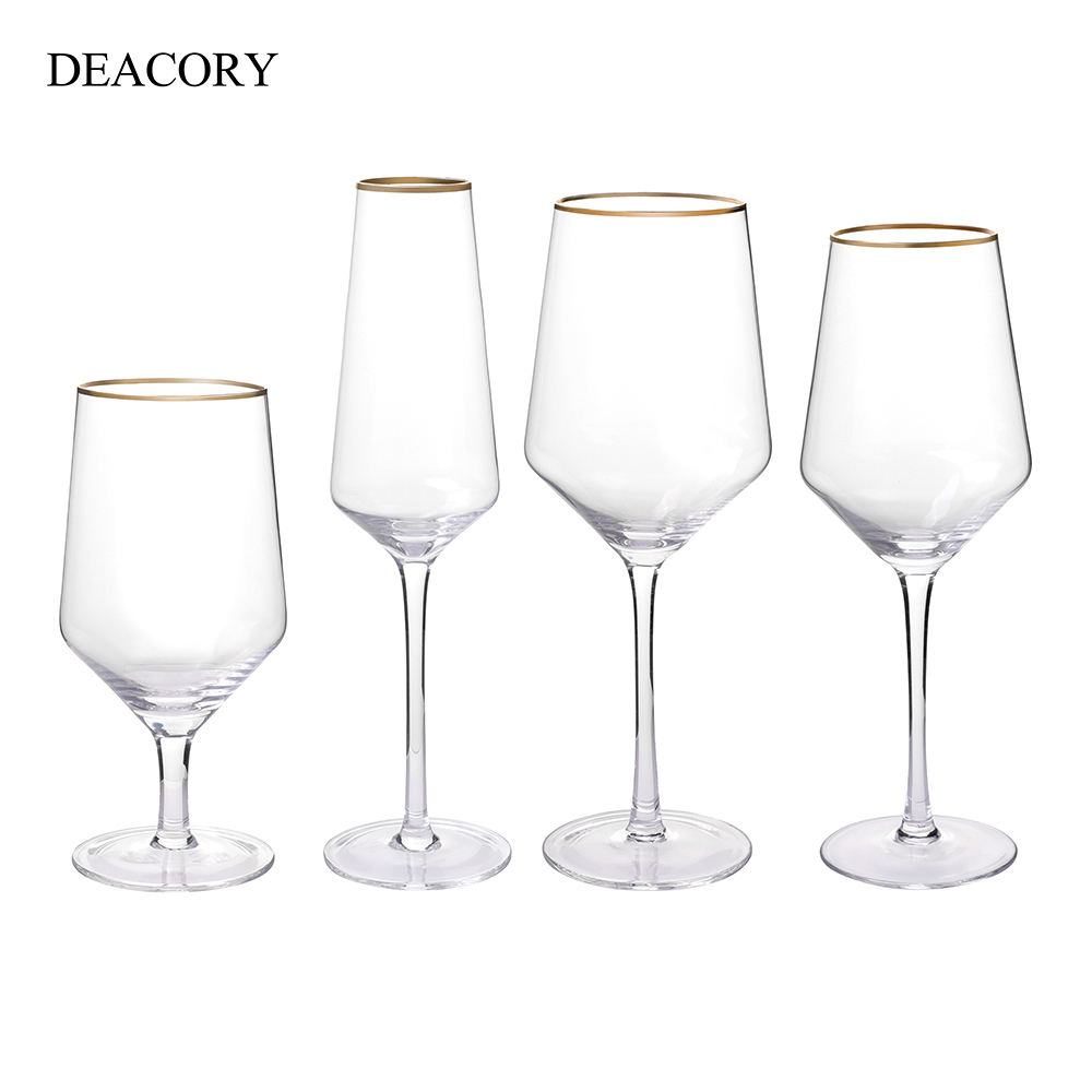 DEACORY Wholesale gold rim goblet water champagne wine glass cup set for wedding restaurant hotel