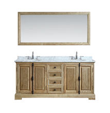 Double sink hotel bathroom wood vanity