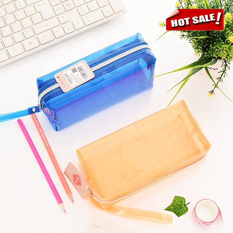 Custom diverse style eco friend pvc pen pencil case bag for kids school stationery products