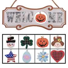 Interchangeable Seasonal Welcome Sign - Front Door Decor Wall Hanging Wood Plaque Whimsical Porch Decorations for Home