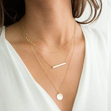 2020 gold plated layered necklaces minimalist layered  women necklace jewelry sets