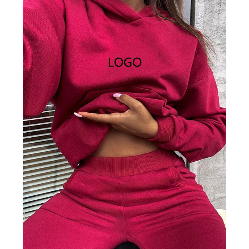 custom logo knit cotton fleece hoodies sets womens clothing joggers fall winter two piece pants set