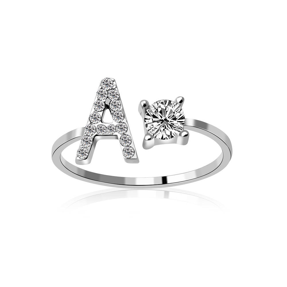 Simple Jewelry Adjustable Initial Rings With Letters Ring Cubic Zirconia Custom Letter Rings