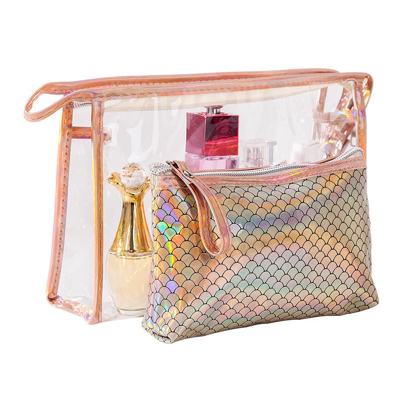 National style letter pattern shiny glitter jelly pvc laser toiletry make up pouch women's cosmetic make-up bag for travel