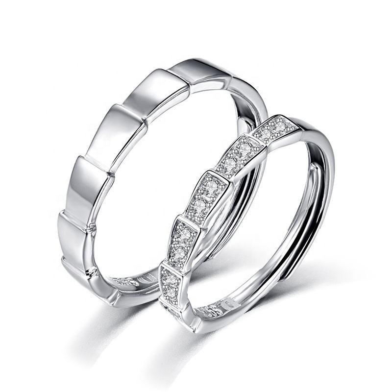 2020 Plated Gold Adjustable Lovers Love Korean Fashion Engagement Couple 925 Sterling Silver Wedding Ring Silver 925