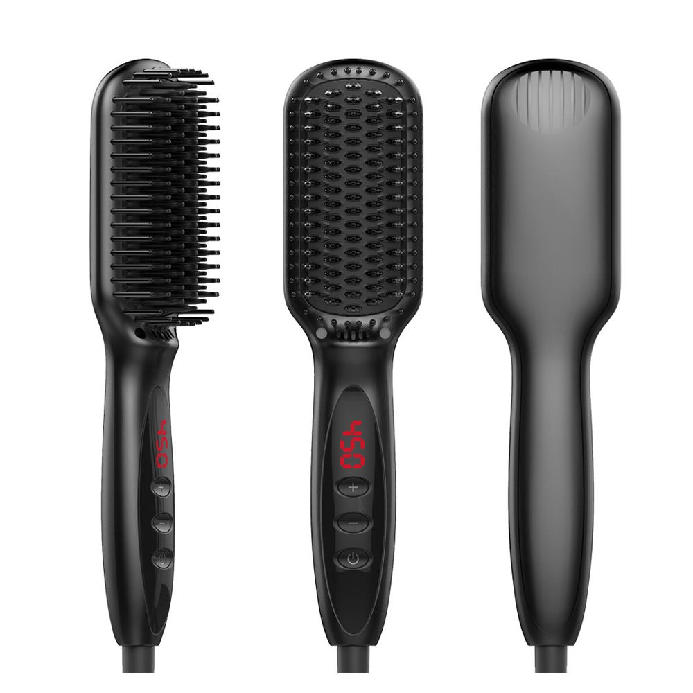 Amazon Hot Selling Elektrische Lcd Display Rechte Kam Hair Styling 3 In 1 Baard Styling <span class=keywords><strong>Keramische</strong></span> Stijltang <span class=keywords><strong>Borstel</strong></span>