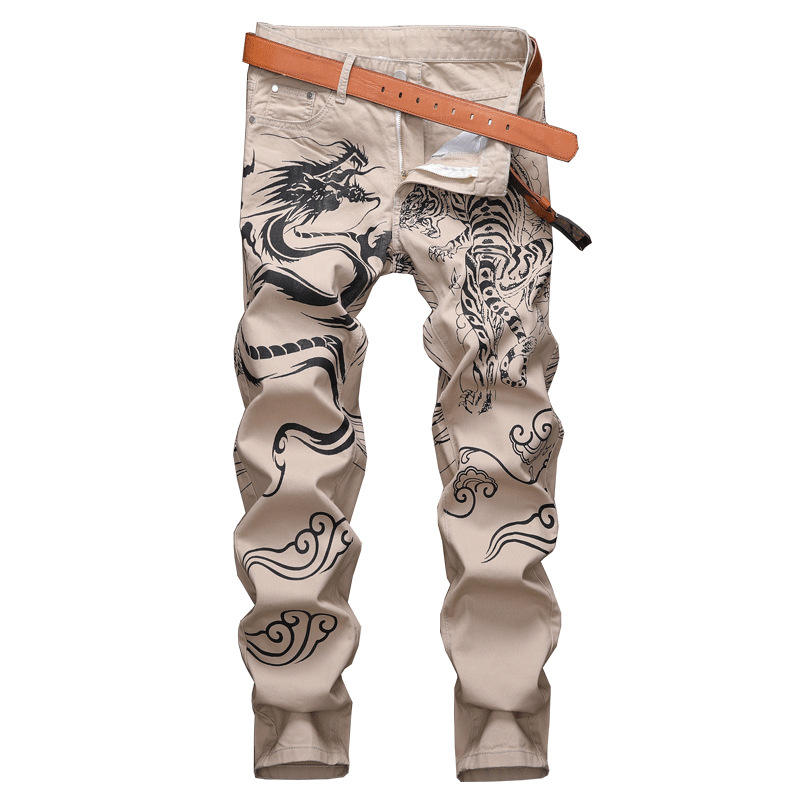 2021 New Dragon Printed Men's Jeans Teen's Fashion Slim-Fit Plus Size Casual Trousers Chinese-style Pants