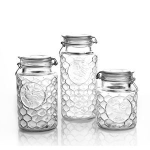 1200ml/1800ml/2400ml storage honey glass jar set glass storage jar