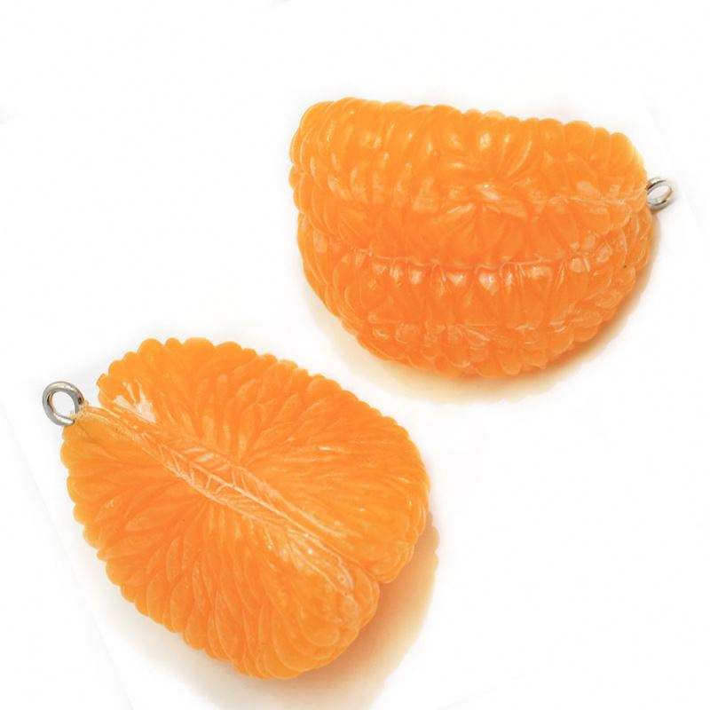 Kawaii Fruit Style 3D Cute Orange Segment Shapes Artificial Pvc Bead Cabochons Pendant Necklace or Hanging