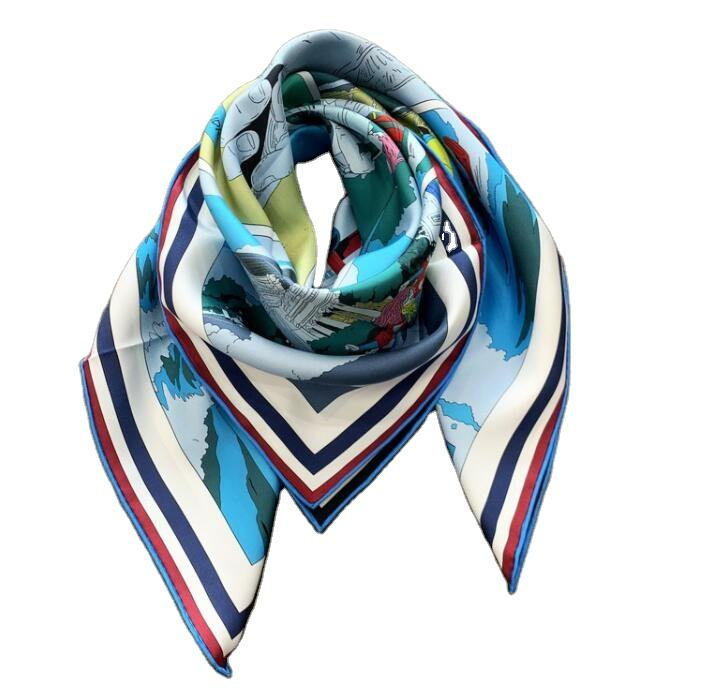 Double Print Silk Scarf 90x90cm Hand Rolled
