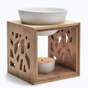 Bamboo Oil Burner with Black Ceramic Bowl Aromatherapy Oils and Wax Melts