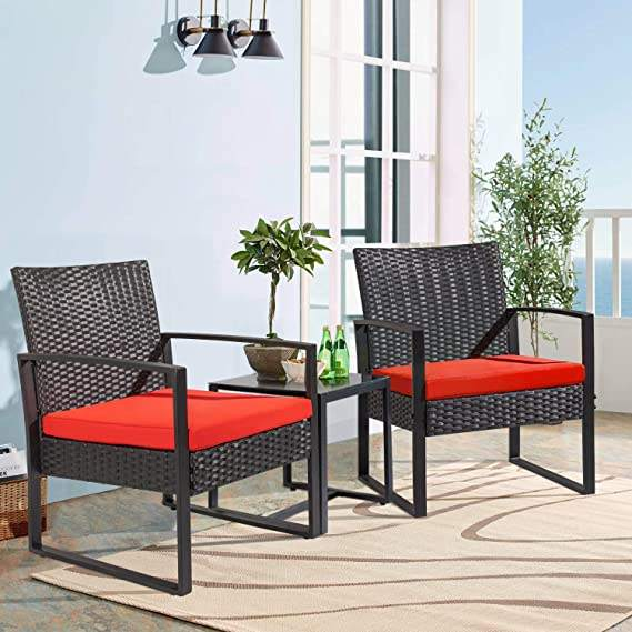 Modern Outdoor Furniture Patio Wicker Rattan Recliner Chair Garden Rattan Wicker Canopy Chair 3 Piece Sets