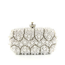 Womens wedding white luxury special crystals beaded pearl clutch evening bags