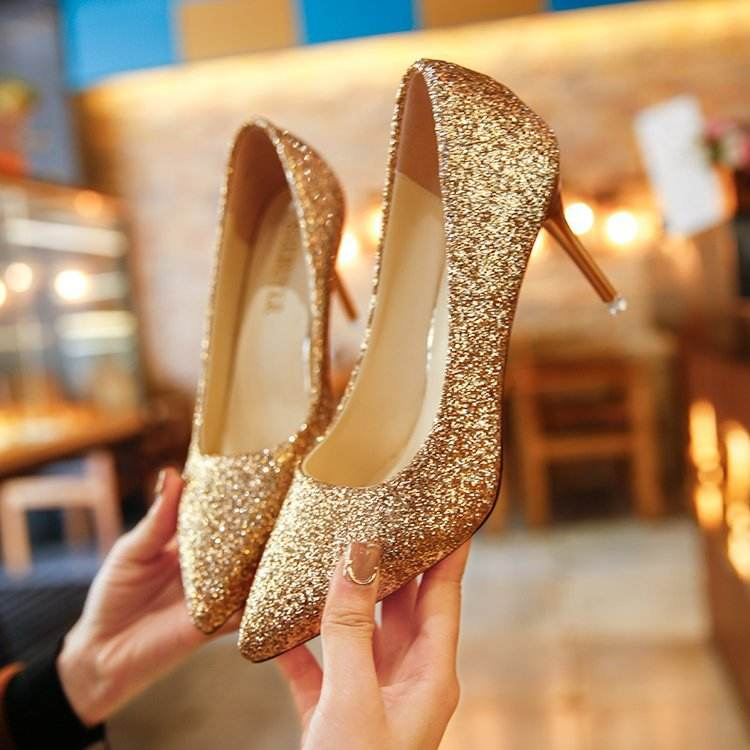 Women Glitter Sapatos Prateados E Pretos De Salto Alto Shiny Bridal High Heels Shoes