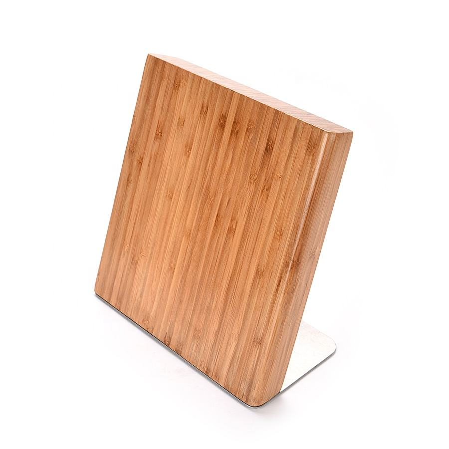 Natural Hot Sale Simi-Circle Novelty Universal Acacia Wood Magnetic Kitchen Knife Block