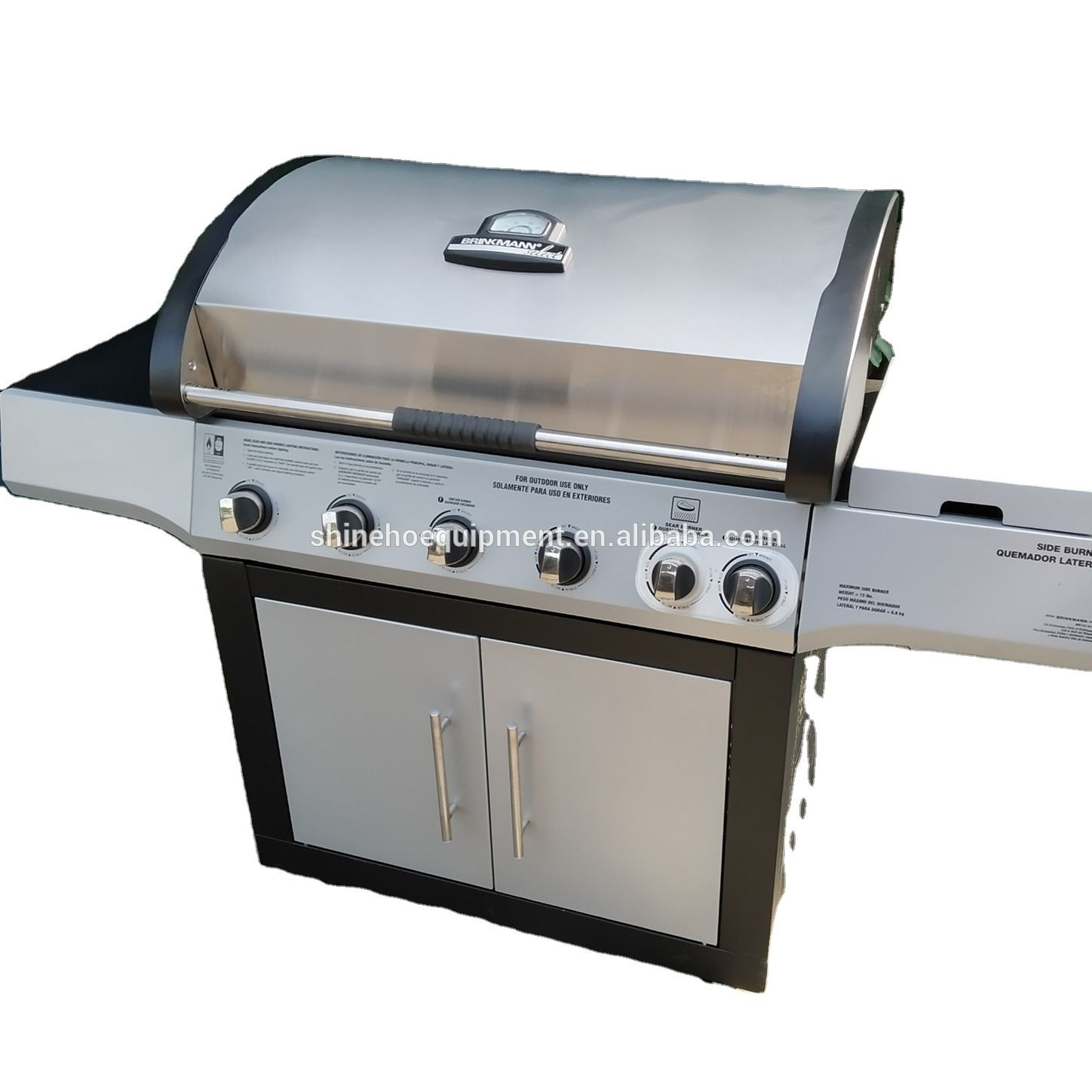 outdoor gas bbq grill, big stove strong pizza oven with skewer bbq grill set