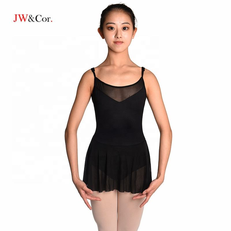 JW Girls camisole dance dress black leotard ballet with skirt