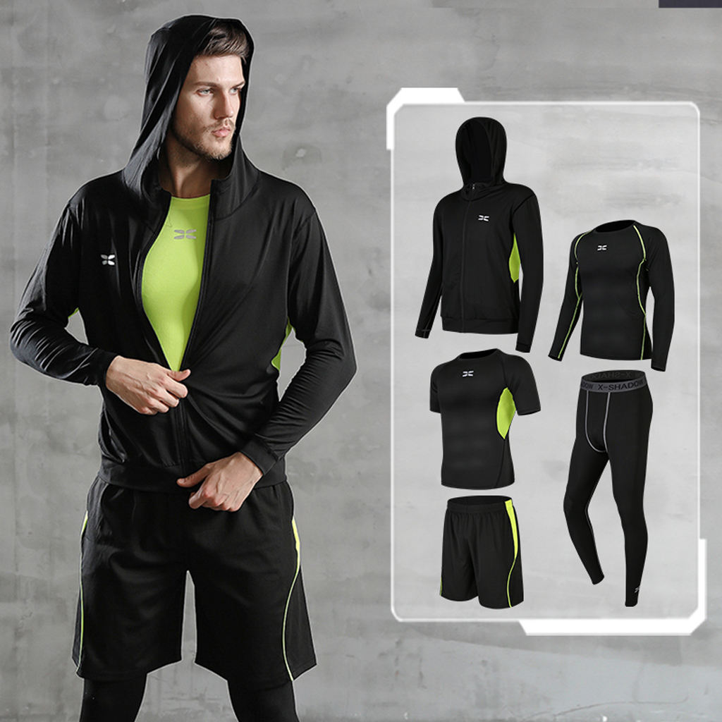5 Pcs/Set Men's Tracksuit Gym Fitness Compression Sports Clothes Running Jogging Sport Wear Exercise Men Workout Clothing