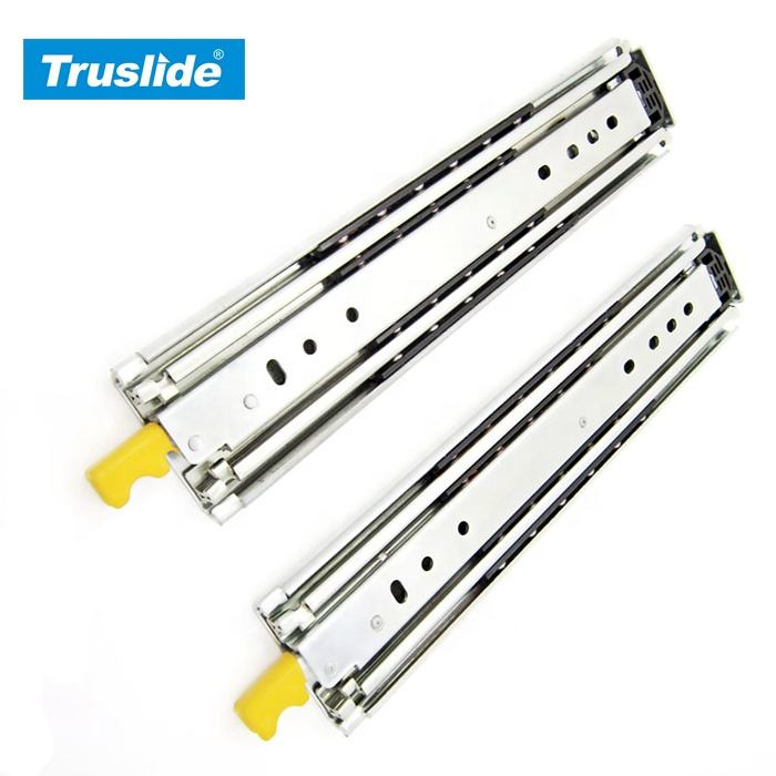 Custom 76mm 3 fold heavy duty telescopic channel ball bearing drawer slides Locking rails