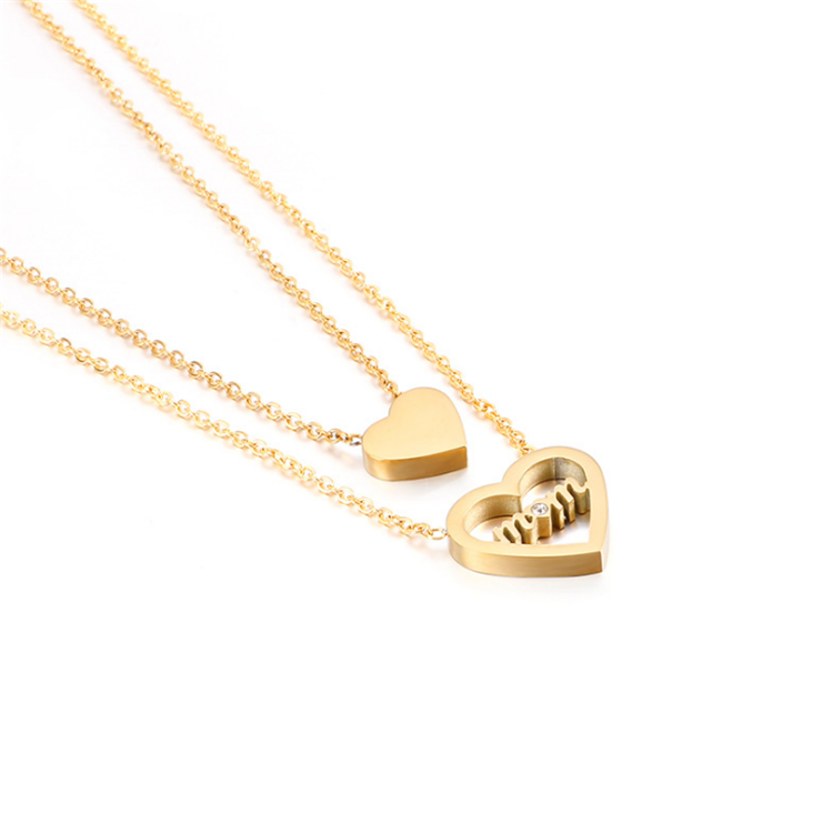 Liefde 18K Vergulde Moeder Double-Layer Kleine Hart <span class=keywords><strong>Ketting</strong></span>